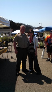 Sheriff Tom Allman drops by for a visit at the Mendocino Farmers' Market