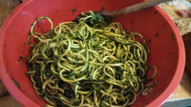 Zucchini pasta tossed with parsley pesto