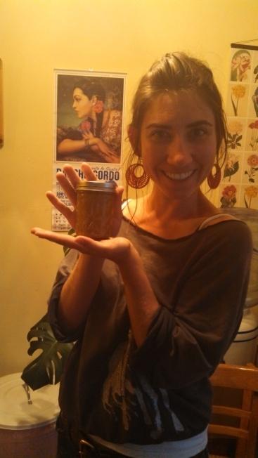 Sarah with plum jam