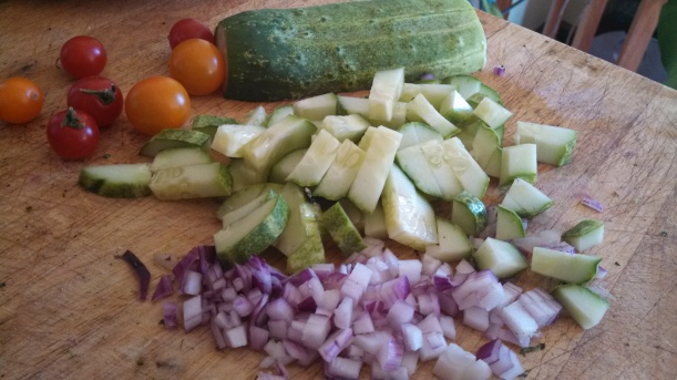 Chopped cucmber, onion & tomatoes