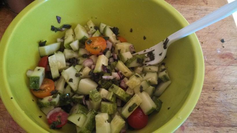 Cucumber, tomato & basil salad