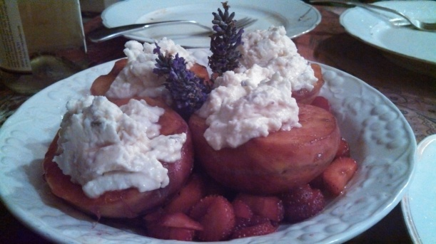 Brown butter peaches w/ chevre