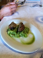 Zucchini pasta with meatball using pork from Inland Ranch Organics