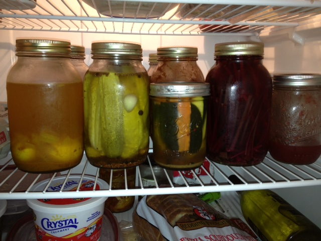 Refrigerator full of pickles
