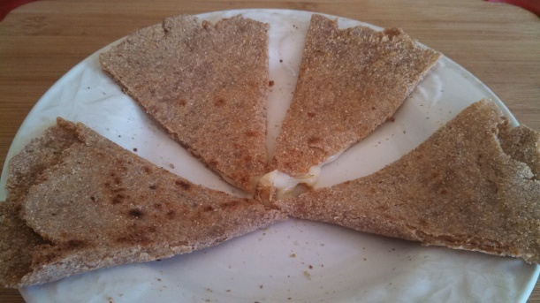Homemade tortilla with flour from the Mendocino Grain Project and fresh mozzarella cheese